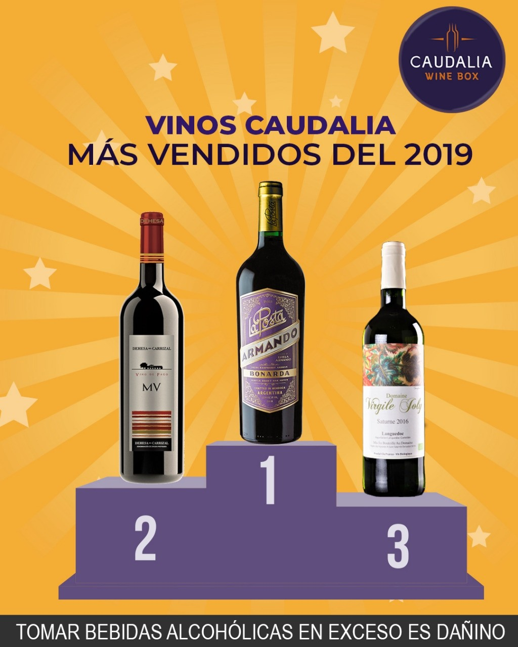 Pack 3 vinos Caudalia top ventas 2019